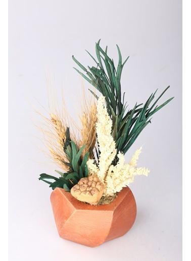 Kibrithane Çiçek Yapay Çiçek  Beton Saksı Kuru Çiçek Aranjman Kc00200743 Renkli